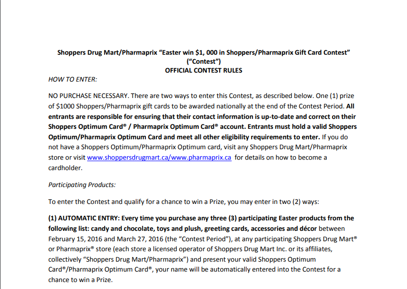 shopper drug mart spring contest