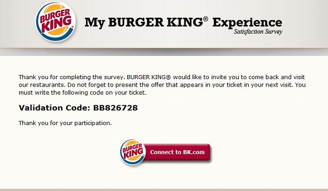 my burger king experience