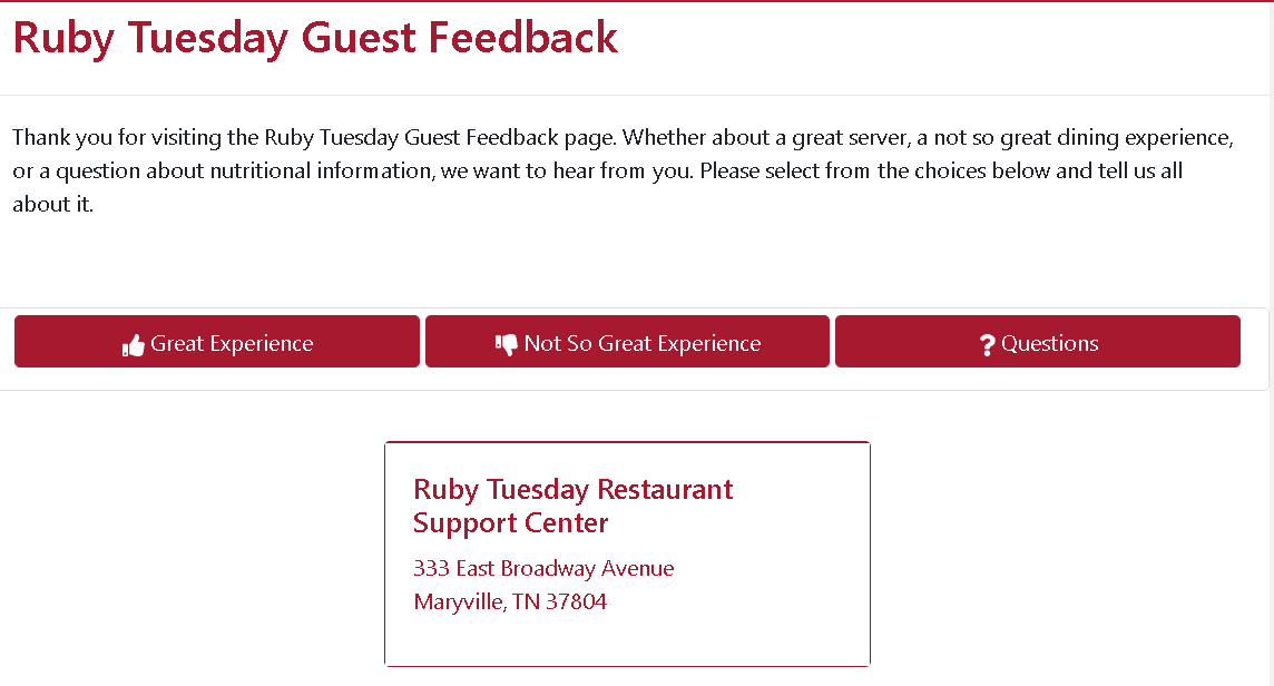 ruby tuesday experience