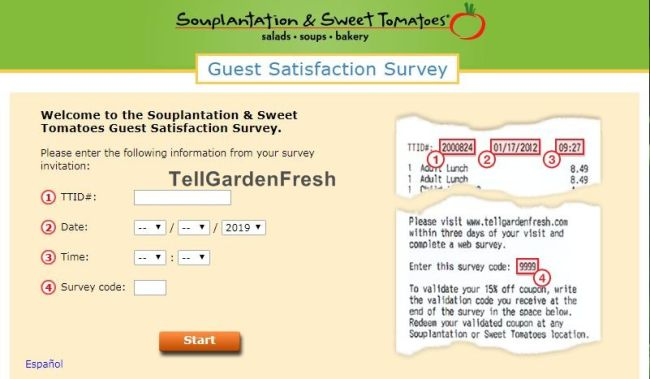 tell garden fresh survey